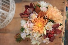Fall Wedding Bouquet (what is that feathery looking white flower!?)