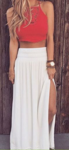 #summer #fashion / red crop top + slit maxi skirt