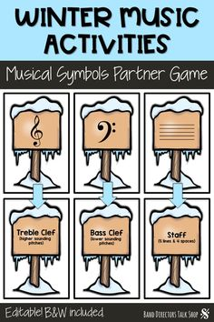 Looking for fun new music education games for the winter season? These winter music activities are a blast! Our students have been practicing music symbols and terms with this fun find a partner game. Students scatter around the room looking for a partner Music Theory Games, Music Education Games, Music Theory Worksheets, Music Activities, Music Games, Rhythm Games, Winter Activities, Music Math, Music Classroom