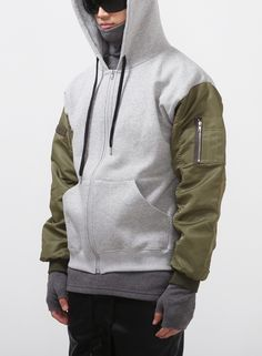 Mens MA-1 Flight Shirring Sleeve Zip-up Hoodie at Fabrixquare