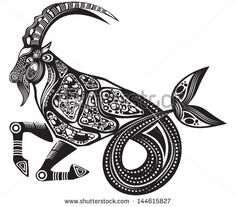 Vector illustration of a tattoo horoscope sign/animal - Capricorn ...