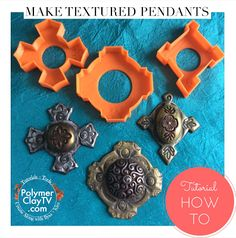 Polymer Clay TV & Polymer Clay Productions - Byzantine Cross cookie cutters. How to create DIY polymer clay cabochon textured pendants with Byzantine Cross cookie cutters