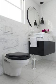 Browse our beautiful bathroom designs for inspiration. This dramatic black & white bathroom exudes opulence. Perrin & Rowe tapware combines with Victoria+Albert bath for a match made in heaven. Dream Bathrooms, Beautiful Bathrooms, Small Bathroom, Traditional Toilets, Black White Bathrooms, Australian Homes, Art Deco, Black And White