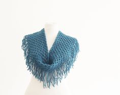 Women Accessories Scarf - Crochet Cowl -  Petrol Blue  - handmade Neck warmer , Crochet Muffler, custom size, winter trends. $35.00, via Etsy.