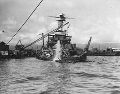 14 in battleship USS California is raised at Pearl Harbor in 1942 - she was so…