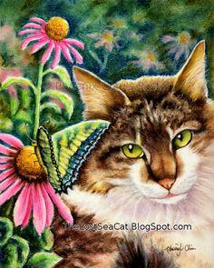 Brown Tabby Cat Art  Brown Tabby Cat With Butterfly by phoenixchiu, $3.95
