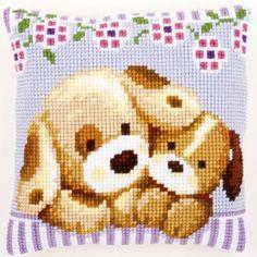 Cuddling Dogs - Cross-stitch cushion - Vervaco