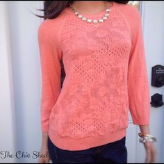 HP Moth Anthro Empyrial Pointelle Coral Sweater Simply gorgeous! Gold stitching detail. Sold out everywhere! Pretty coral color with feminine knit design. EUC. The Chic Shed; A Current and Classic Fashion Curation.  10% OFF BUNDLES I ❤️ THE OFFER BUTTON ❌NO PP, TRADES, HOLDS❌  15% OFF RETURN BUYER BUNDLES Anthropologie Sweaters
