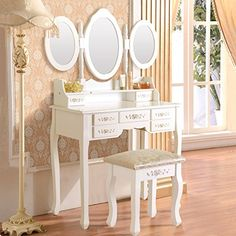 DFM White Dressing Table Set Vanity Makeup Table with Stool 7 DrawerFolding Mirror Wood Desk ** You can get additional details at the image link.