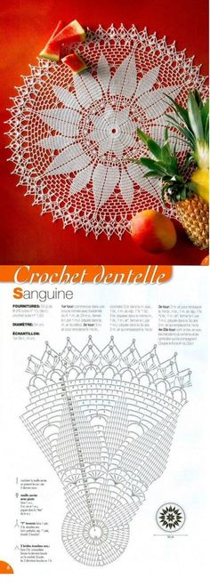 #_SANGUINE Crochet Lace Doily and diagram pattern.
