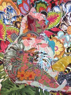 Cat Nap: Secret Garden, detail, Art Textile