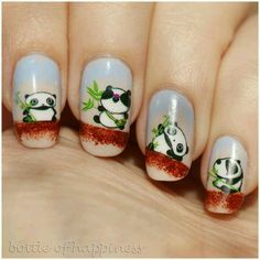 Now a days, panda nail art has become so popular that almost every second woman is seen painting her nails with adorable pandas in black. Panda Bear Nails, Panda Nail Art, Penguin Nail Art, Animal Nail Art, Panda Bears, Fancy Nails, Cute Nails, Pretty Nails, Nailart