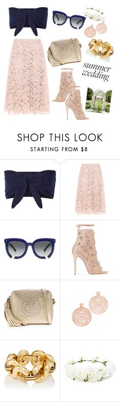 """""""Summer Wedding Guest"""" by natsof7 ❤ liked on Polyvore featuring Solid & Striped, Valentino, Grey Ant, Giuseppe Zanotti, Anya Hindmarch, Bronzallure and Forever 21"""
