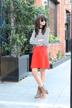 striped top and red skirt M Loves M @marmar