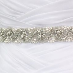 Pearl and crystal wedding belt