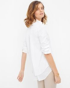 White House | Black Market Split-Back Pleated Poplin Shirt