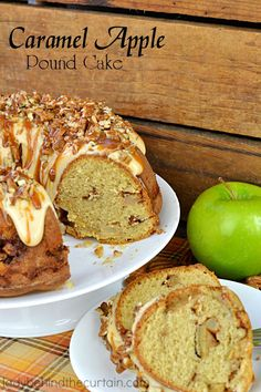 Caramel Apple Pound Cake | A tender cake with TWO layers of sweet brown sugar apples, topped with a cream cheese frosting drizzle, caramel and a sprinkling of pecans.