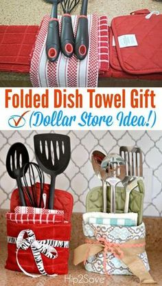 Here's how to turn dollar store towels and utensils into a fabulous homemade gift idea for under $8. Great for Mother's Day, Housewarming, or Wedding Shower gifts!