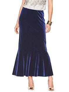 Velour Godet Skirt