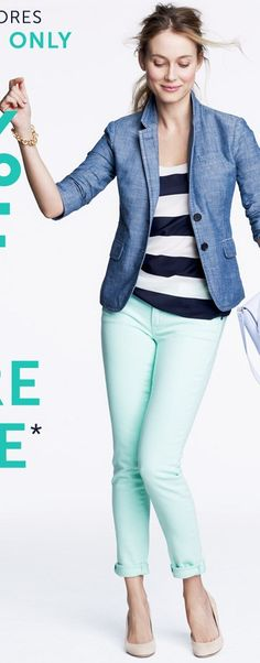 Jcrew stripe shirt, denim blazer, mint jeans, nude shoe