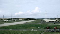 A view from the control tower at RAF Kinloss looking out along the aircraft servicing bays towards Findorn Bay.