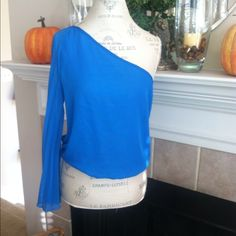 One shoulder pleated arm Electric Blue top Blue top Colbalt Mimi Chica Tops Blouses