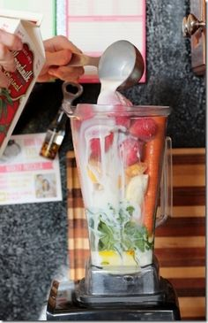 Kid-Friendly Fruit & Veggie Smoothie Recipe - 2 big handfuls fresh spinach leaves (about 4 cups) 2 bananas, peeled 4 medium carrots, rinsed and trimmed 1 cup frozen mango 1 12oz bag frozen strawberries 2 tablespoons flax oil 1 tablespoon vanilla extract 2 cups unsweetened original almond milk 1.5 cups water