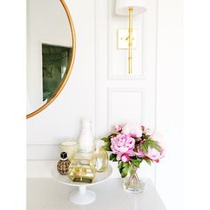Our Faux Pink Peonies are the perfect addition to this feminine washroom vignette.