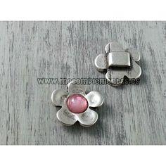 Entrepieza flor con piedra rosa 30mm. zamak con baño de plata