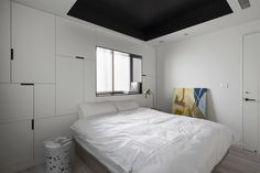 No.2 Modern Composition designed by Studio In2, inspired by midcentury modern art. Interior design, bedroom, geometry, storage, bedroom decor, black and white