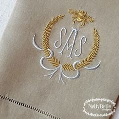 A napoleonic bee monogram in ice blue and gold on a taupe guest/tea towel. Monogram Towels, Monogrammed Napkins, Embroidery Monogram, Embroidery Fonts, Monogram Letters, Embroidery Applique, Embroidery Designs, Free Monogram, Monogram Fonts