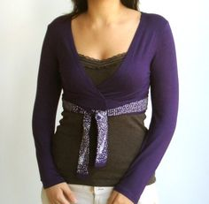 Purple belted Wrap shrug screen printed by nowonder on Etsy, $42.00