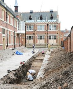 Today at the Richard III dig in Leicester - this is the third trench they have dug, as the archaeologists from the University of Leicester continue their work