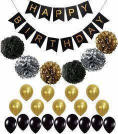 Resultado de imagem para decoração festa aniversário  preto e dourado