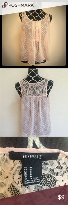 Size M Pink Lace Tank Beautiful size M Sheer Lace Pink top from Forever 21. Gently worn, looking for a new closet!! Forever 21 Tops Tank Tops