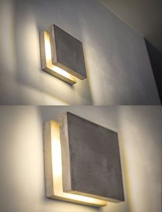 Plug-in lamp in wall lamp. Insert the plug-in lamp. night light - Wall Concrete Square Sconce, Ideal for Minimalistic & Discrete Indoor Lighting for Bar, Hotel and C - Concrete Light, Concrete Lamp, Concrete Furniture, Plywood Furniture, Furniture Plans, Plug In Wall Sconce, Wall Sconces, Wall Lamps, Wall Décor