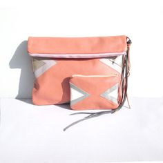 Gift Set // Peach Leather // Geometric // Fold Over Clutch & Coin Purse Set // Art Deco // Mother's Day // Triangels Pink Leather, Real Leather, Leather Crossbody, Gold Fronts, Snake Patterns, Crossbody Clutch, Spring Trends, Peach Colors, Purses And Bags