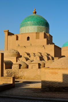 """Juma Mosque, Khiva: """"The oldest mosque in Khiva is the Juma Mosque (Friday Mosque), which has its origins in the century. It was the largest mosque in the city and caught the attention of medieval Arab travellers, including Al Istahri and Al Makdisi. Detail Architecture, Mosque Architecture, Beautiful Architecture, Art And Architecture, Beautiful Mosques, Beautiful Places, Places Around The World, Around The Worlds, Cathedral Church"""