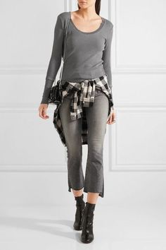 Splendid - Nordic Waffle-knit Stretch Supima Cotton And Micro Modal-blend Top - Dark gray - x large