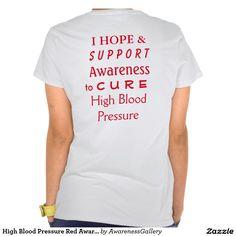 Hope, Suppoert, & Cure High Blood Pressure Red Awareness Ribbon Angel Shirt