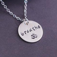Breathe Om Necklace, Yoga Jewelry from georgie designs personalized jewelry