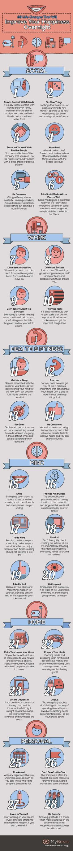 28 Life Changes That Will Improve Your Happiness Overnight [by MyBreast Cosmetic Surgery -- via #tipsographic]. More at tipsographinc.com