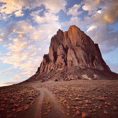 """Photo by @argonautphoto (Aaron Huey) on a road trip through the desert South West looking for #AmericanCathedrals on the #NavajoNation in New Mexico. This image: ShipRock, or Tsé Bit'a'í, which means """"rock with wings."""" The name comes from the legend of the great bird that brought the Navajo from the North to their current homeland.  #protectthesacred #Padgram"""