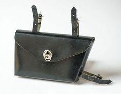 Bicycle saddle bag vintage black seat bag black faux by SovietEra