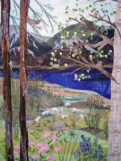 Turnagain View by Nancy Dobson | Textile Artist. Landscape art quilt.