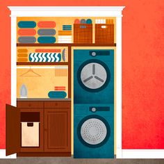 Make laundry less of a chore by moving your washer and dryer to a more convenient spot. See how we converted closets for the job. Laundry Dryer, Laundry Closet, Laundry Rooms, Laundry Supplies, Diy Supplies, Louvered Bifold Doors, Converted Closet, Hidden Laundry, Compact Laundry