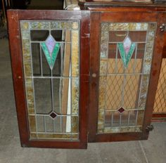 set of 4 stained glass cabinet doors