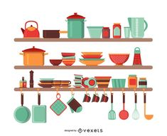 Ilustração de utensílios de cozinha Flat Illustration, Illustrations, Baby Posters, Gelli Printing, Digital Art Tutorial, Wall Racks, Journal Stickers, Layout Template, Create A Logo