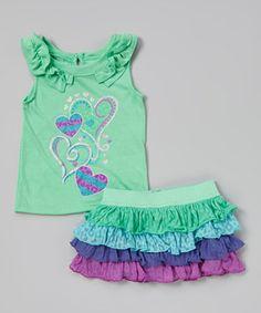 Look at this #zulilyfind! Green & Purple Hearts Ruffle Tank & Skirt - Toddler & Girls by Nannette Girl #zulilyfinds
