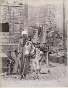 Man with a Veiled Woman on Donkey (c. 1880s CE Egypt)